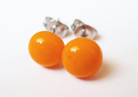 Narancssárga üveg pötyi fülbevaló
