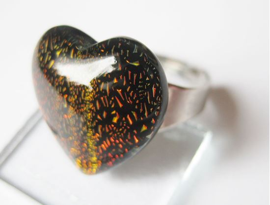 Réz dichro szívecske gyűrű