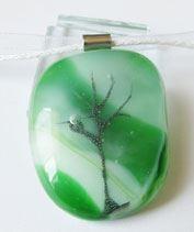 Zöld életfa üvegmedál