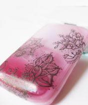 Rózsaszín csipkés üvegmedál