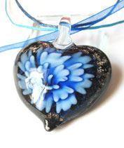 Kék muránói szívecske medál