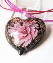 Rózsaszín muránói szívecske medál