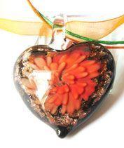 Narancs muránói szívecske medál