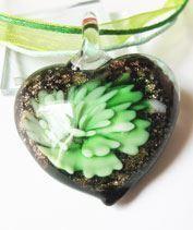 Zöld muránói szívecske medál
