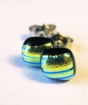 Arany-zöld szkarabeusz üveg fülbevaló