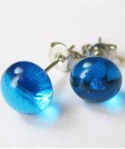 Áttetsző kék üveg pötyi fülbevaló