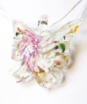 Rózsaszín muránói pillangó medál