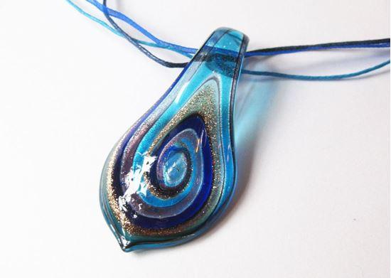 Muránói levél medál - kék