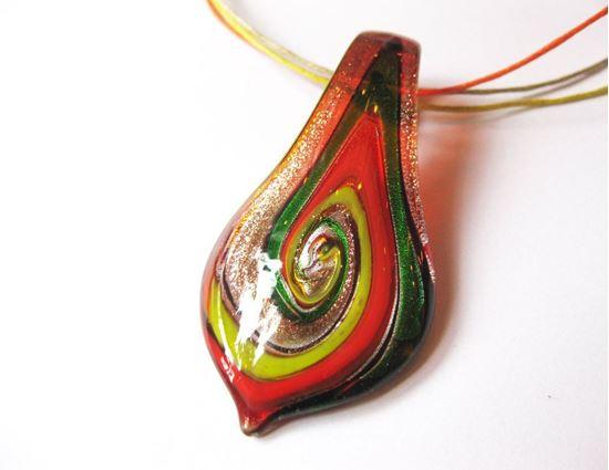 Muránói levél medál - piros
