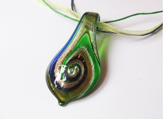 Muránói levél medál - zöld