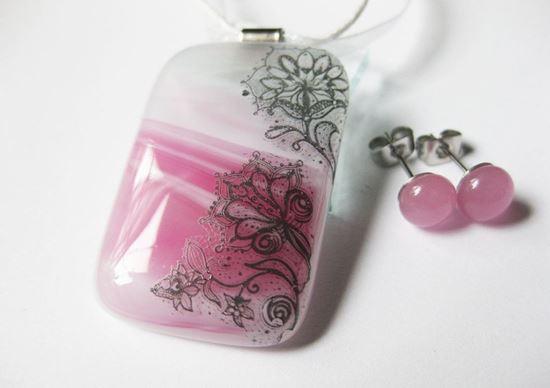 Rózsaszín csipkés szett