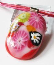 Virágos rét millefiori üvegmedál