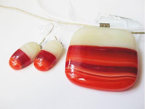 Édua álma üvegékszer szett - piros-ekrü