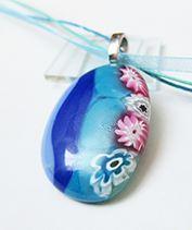 Kék millefiori medál 2