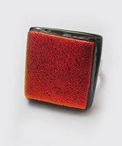 Vörös selyem üvegékszer gyűrű