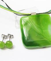 Zöld üvegékszer szett 3